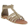 Womens Flat Sandals Braided Strappy Gladiator Casual Shoes Taupe