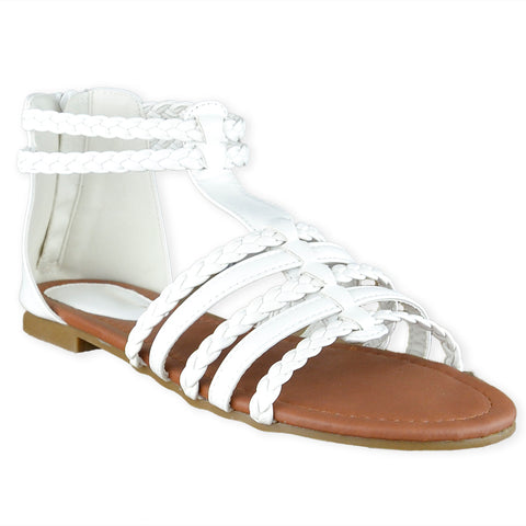 76b2bc10d5bb5 Womens Flat Sandals Braided Strappy Gladiator Casual Shoes White