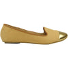 Womens Ballet Flats Snake Printed Gold Toe Cap Tan