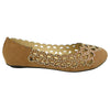 Womens Ballet Flats Cutout Rhinestones Slip On Comfort Shoes Tan
