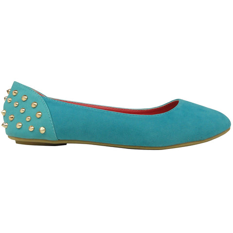 Womens Ballet Flats Back Metal Studded Slip On Blue