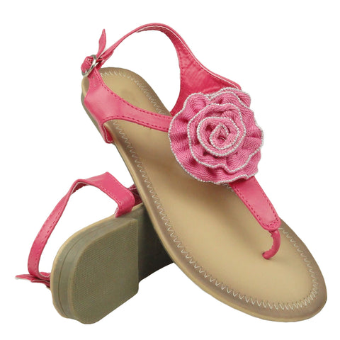 Womens Flat Sandals T-Strap Rosette Ankle Strap Pink