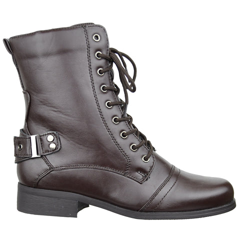 Womens Knee High Boots Wrap Around  Buckle Strap Sexy Casual Shoes Brown