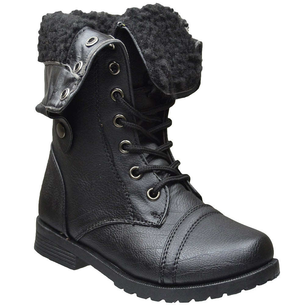96b6327c5a2 Kids Mid Calf Boots Fold Over Cuff Fur Lined Lace Up Combat Boots Black ...