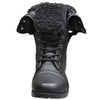 Kids Mid Calf Boots Fold Over Cuff Fur Lined Lace Up Combat Boots Black