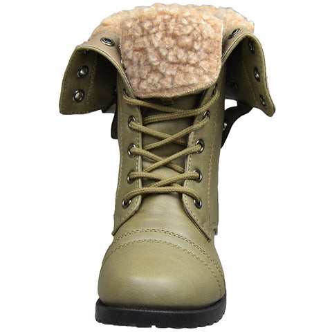 Kids Mid Calf Boots Fold Over Cuff Fur Lined Lace Up Combat Shoes Taupe