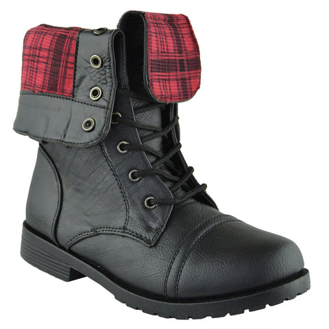 Kids Mid Calf Boots Fold Over Cuff Lace Up Combat Boots Black