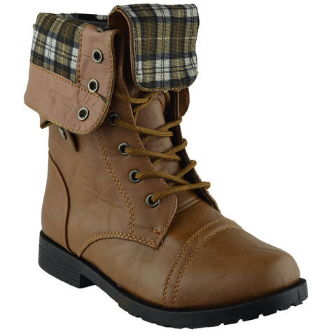 Kids Mid Calf Boots Fold Over Cuff Lace Up Combat Boots Tan