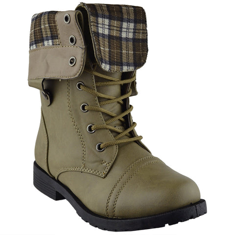 Kids Mid Calf Boots Fold Over Comfort Lace Up Combat Boots Taupe