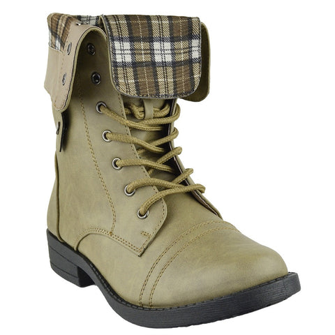 Womens Mid Calf Boots Fold Over Cuff Lace Up Combat Shoes Taupe