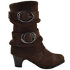 Kids Mid Calf Boots Knitted Calf and Suede Double Side Buckle Brown