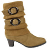 Kids Mid Calf Boots Knitted Calf and Suede Double Side Buckle Tan