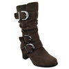 Kids Knee High Boots Ruched High Heel Buckles Side Zipper Closure Brown