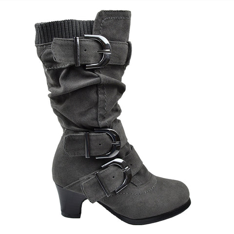Kids Knee High Boots Ruched High Heel Buckles Side Zipper Closure Gray