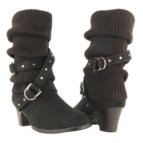 Kids Mid Calf Boots Knitted Pull Over Ankle Wrap Stud Buckle black