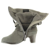 Kids Mid Calf Boots Knitted Pull Over Ankle Wrap Stud Buckle Gray