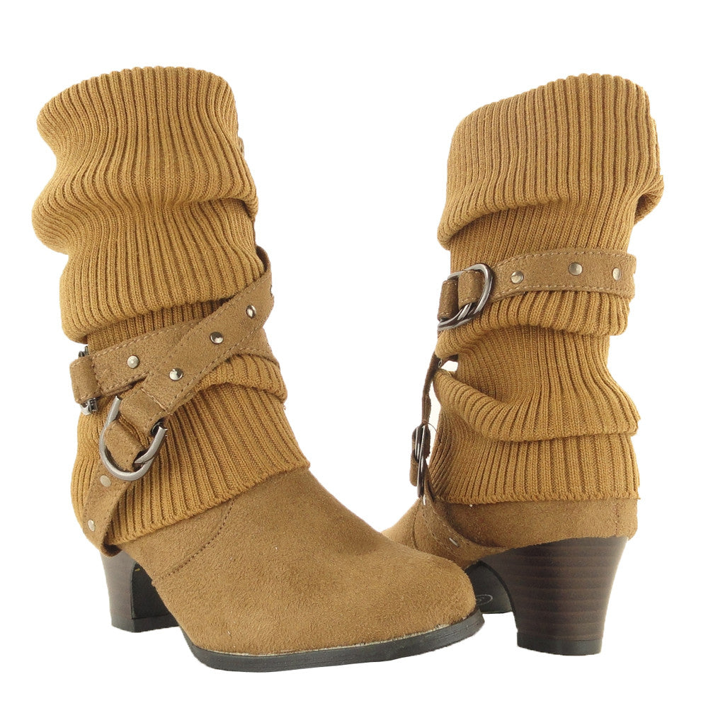 DS By KSC Girls Lace Up Cuffed Wedge Ankle Booties DS-MIA-25BROWN