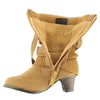 Kids Mid Calf Boots Knitted Pull Over Ankle Wrap Stud Buckle Tan