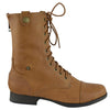 Womens Ankle Boots Camouflage Lining Lace Up Combat Shoes Cognac