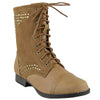Womens Ankle Boots Rhinestone Studded Combat Lace Up Shoes Cognac