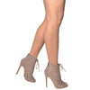 Womens Dress Shoes Cutout Ankle Booties Crisscrossed Lace Taupe