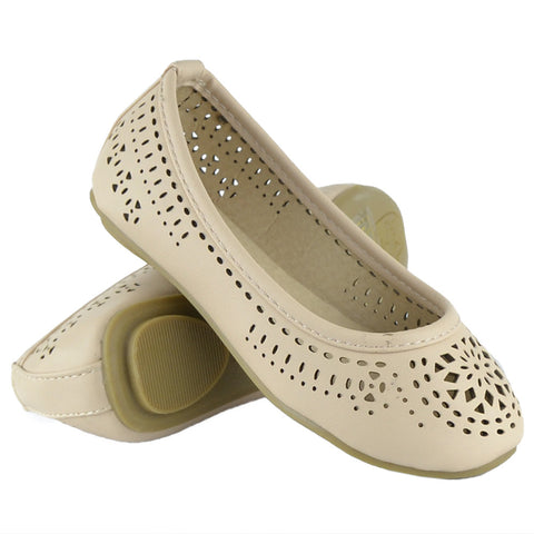 Kids Ballet Flats Floral Cut Out Slip On Comfort Shoes Beige