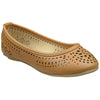 Kids Ballet Flats Floral Cut Out Slip On Comfort Shoes Tan