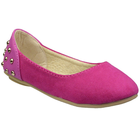 Kids Ballet Flats Back Metal Studded Comfort Slip On Shoes Pink