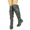 Womens Riding Over the Knee Boots Black