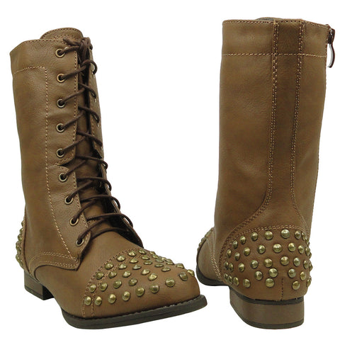 Womens Mid Calf Boots Spiked Toe and Heel Combat Casual Comfort Shoes Taupe