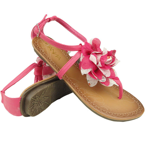 Womens Flat Sandals Thong Flower Tulle T-Strap Ankle Strap Pink