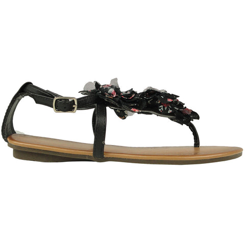 Womens Flat Sandals Thong Floral Tulle T-Strap Ankle Strap black