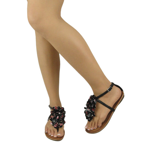 T Ankle Sandals Floral Womens Strap Thong Flat Black Tulle dxtshQrC