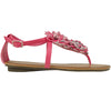 Womens Flat Sandals Thong Floral Tulle T-Strap Ankle Strap Pink