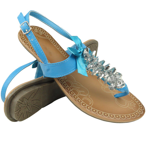 Womens Platform Sandals Gemstones T-Strap Lace Ribbon Ankle Strap Blue