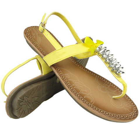Womens Platform Sandals Gemstones T-Strap Lace Ribbon Ankle Strap Yellow