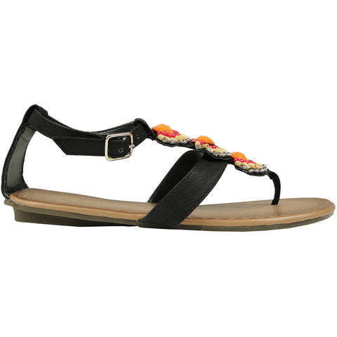 Womens Flat Sandals T-Strap Tribal Color Beaded Adjustable Ankle Strap black