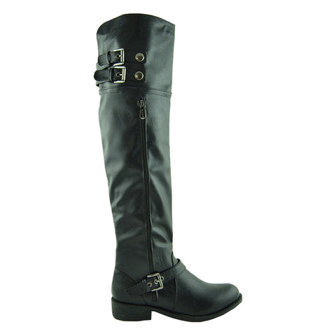 Womens Over the Knee Boots w/ Buckle Straps Black