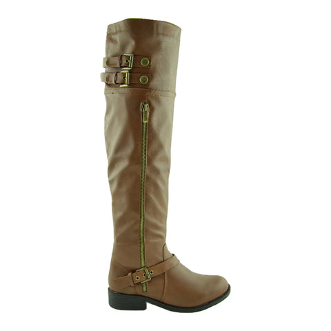 Womens Over the Knee Boots w/ Buckle Straps Tan
