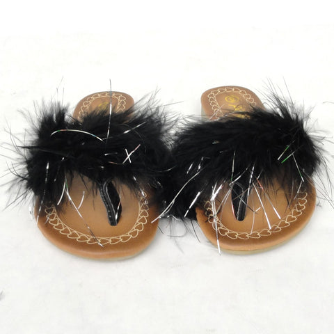 Kids Flat Sandals Faux Feather Thong Slip On black