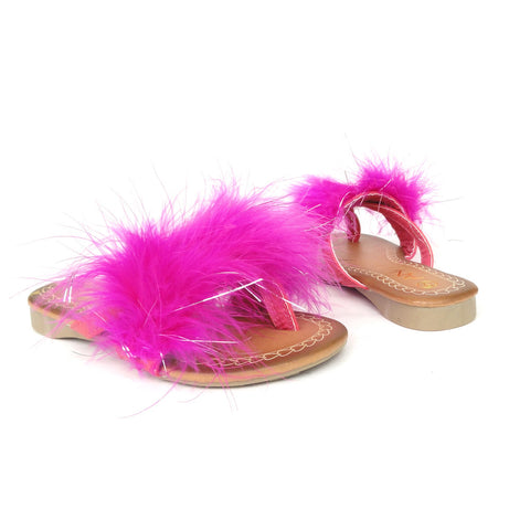 Kids Flat Sandals Faux Feather Thong Slip On Pink