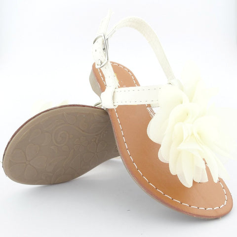 Kids Flat Sandals Slingback Ruffle Flower Adjustable Ankle Strap White