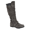 Womens Knee High Boots Ruched Calf Knit Collar Military Hiking Combat Gray