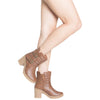 Womens Block Heel Ankle Boots Tan