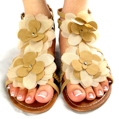 Womens Flat Sandals Tulle Flowers Back Zipper Closure Tan