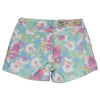 Womens Short Low Rise Floral Print Stretch Shorts Green