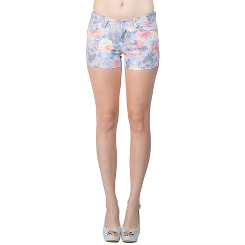 Womens Short Low Rise Floral Print Stretch Shorts Blue