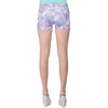 Womens Short Low Rise Floral Print Stretch Shorts Purple