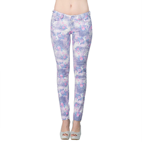 Womens Pant Floral Print Low Rise Stretch Skinny Jeans Purple