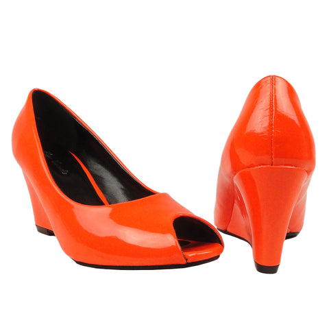 Womens Platform Shoes Patent Leather Wedge High Heel Shoes Orange